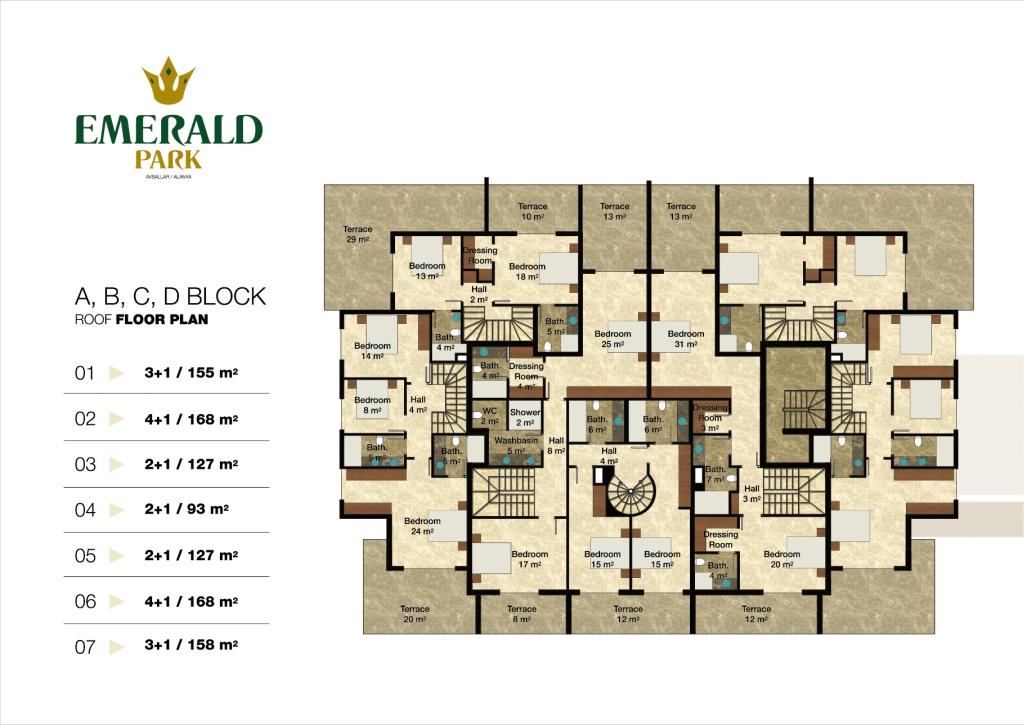 Emerald Park Alanya Floor Plans