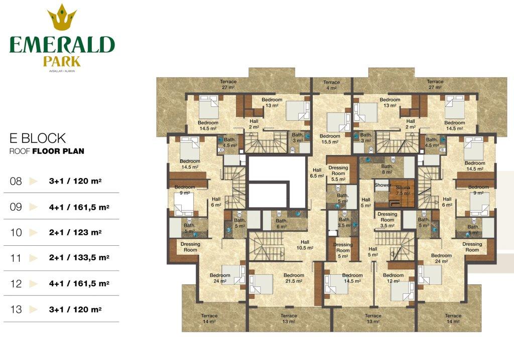 Emerald park alanya floor plans for Emerald homes floor plans